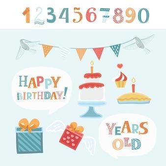 Смешные элементы для поздравления с днем рождения