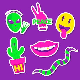 Funny elements with face stickers in acid colours
