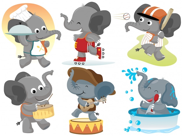 Funny elephant cartoon activities collection set