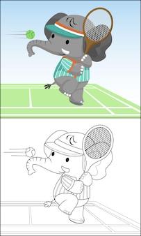 Funny elephant cartoon playing tennis