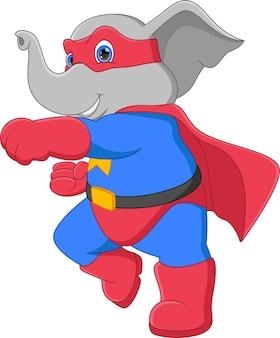 スーパーヒーローの衣装を着た面白い象
