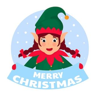 面白いエルフはメリークリスマスを言う看板を持っています。