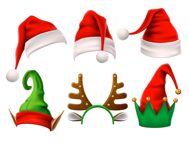 Funny elf, snow reindeer and santa claus hats for christmas. isolated set