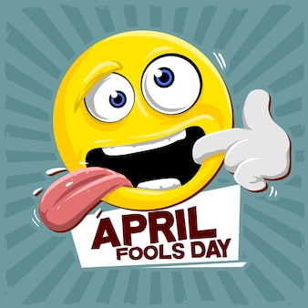 Funny emoticon for celebrating april fools day