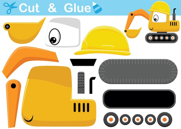 Funny excavator cartoon wearing helmet. education paper game for children. cutout and gluing