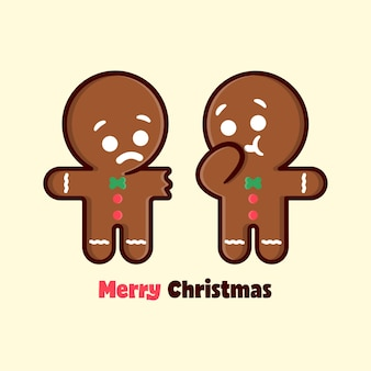 Funny expression ginger bread eating his friend arm