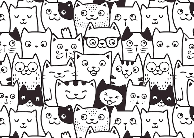 Funny face cats pattern doodle background