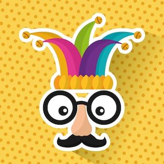 面白い顔のメガネの口ひげと帽子