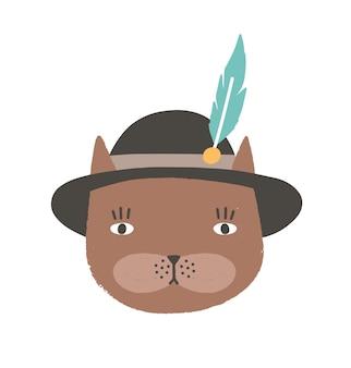 チロリアンハットまたはバイエルンハットを羽でかぶった猫の変な顔または頭。白い背景で隔離の子猫のかわいい漫画銃口。子供のためのフラットスタイルの子供っぽいベクトルイラストtシャツプリント。