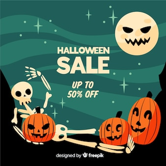 Funny faces flat halloween sale