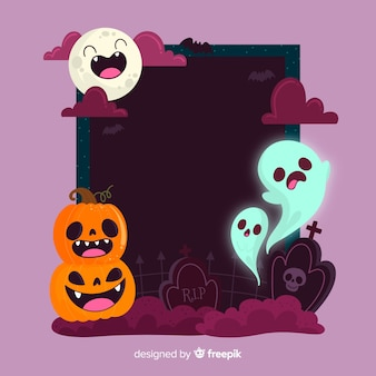 Funny faces frame with halloween creatures