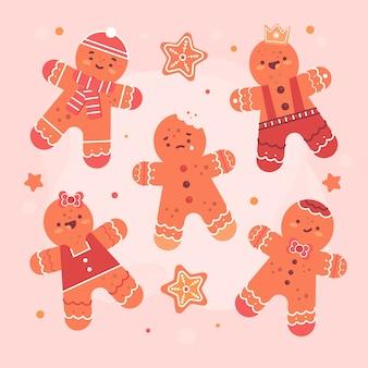 Funny faces of gingerbread men flat design