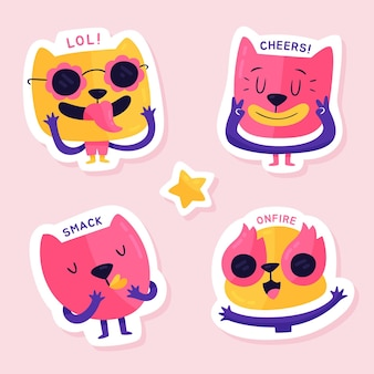 Funny facesillustration sticker collection