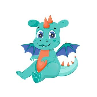 Забавный персонаж сказочного дракона. милое волшебное животное с крыльями. отдельные векторные иллюстрации.