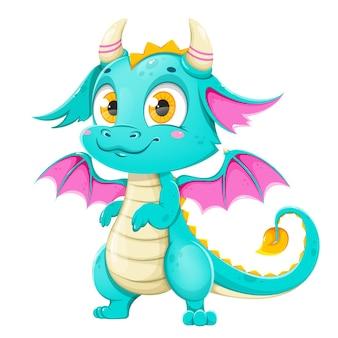Забавный сказочный дракон милая волшебная ящерица с крыльями фантастическое животное