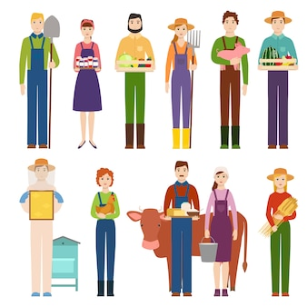 Funny farmer character isolated cartoon man agriculture person and happy rancher profession rural farming gardener worker people