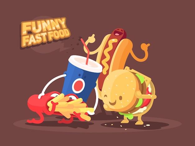 재미있는 패스트 푸드. 감자 튀김, 햄버거 및 소다의 캐릭터. 삽화