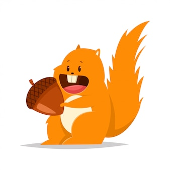 Funny fat squirrel with a nut. vector cartoon flat character of forest animal.