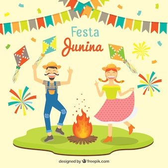 Funny festa junina background with dancing couple