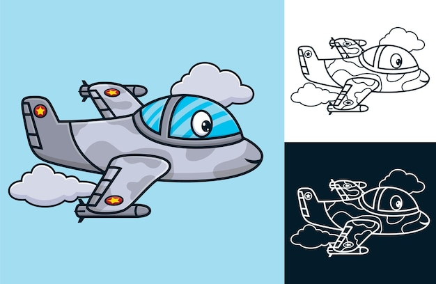 Funny fighter jet. vector cartoon illustration in flat icon style
