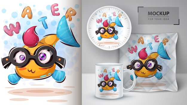Funny fish poster and merchandising