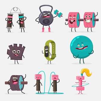 Funny fitness equipment characters cartoon set isolated