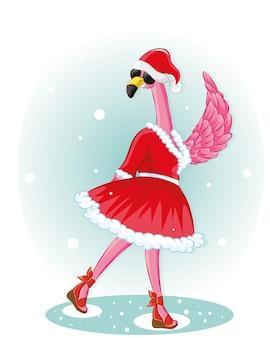 산타 모자와 검은색 유리가 없는 재미있는 플라밍고. 새해 복 많이 받으세요 인사말 카드