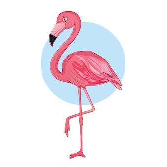 분홍색의 재미있는 플라밍고