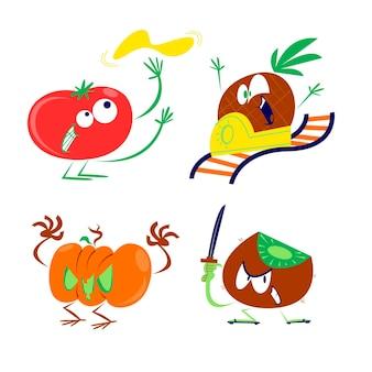Divertenti illustrazioni piatte di frutta e verdura