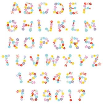 休日のための面白い花のフォントベクトル英語のアルファベットと花と数字