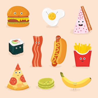 Funny food cartoon characters isolated illustration. face icon pizza, cake, scrambled eggs, bacon, banana, burger, hot dog, roll, french fries.
