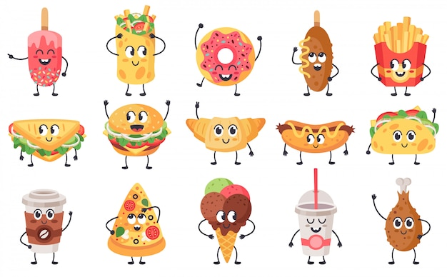 面白い食べ物のマスコット。かわいい落書きジャンクフードマスコット、ファーストフードの顔、幸せなチーズバーガー、ピザ、クロワッサンのイラストアイコンセット。サンドイッチとおやつ、顔がかわいい、不健康な食事