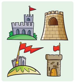 Smiple 만화 스타일의 재미있는 요새 컬렉션
