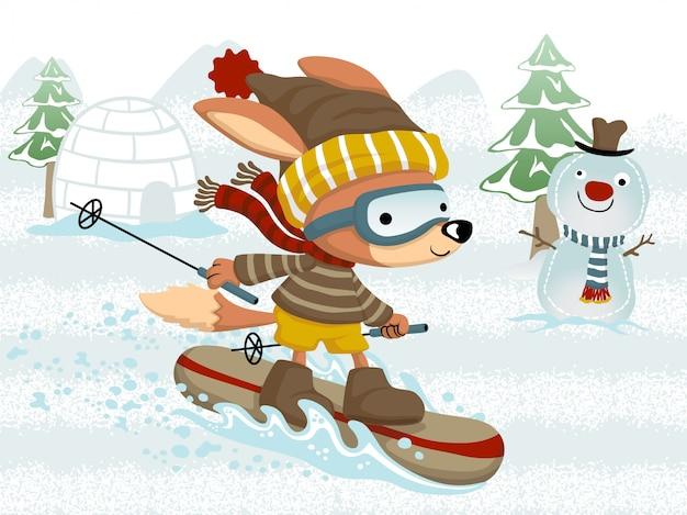 Забавный мультяшный лис на лыжах зимой