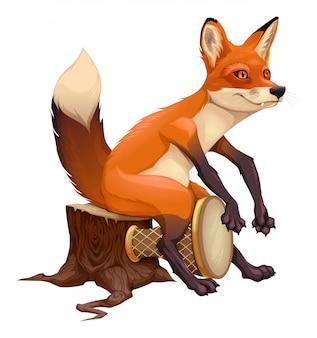 Смешная лиса играет с барабаном.