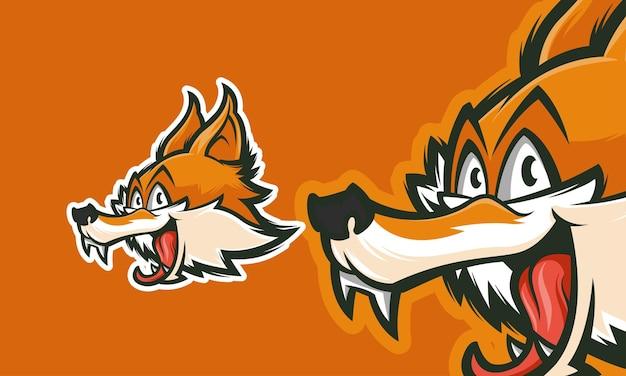 프리미엄 벡터 마스코트 그림을 사용할 준비가 된 재미있는 여우 로고 디자인