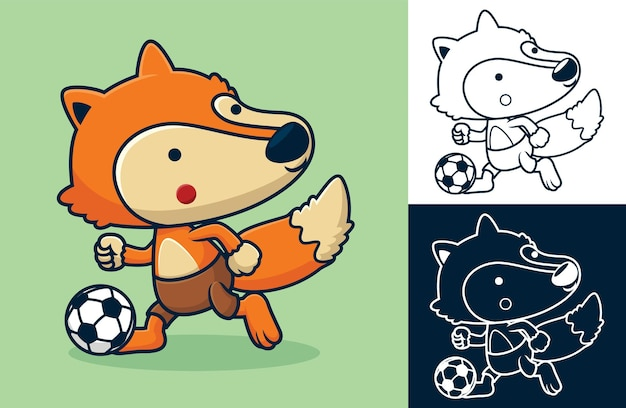 Смешная лиса играет в футбол. карикатура иллюстрации в стиле плоской иконки