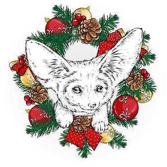 Забавная лиса с рождественским венком