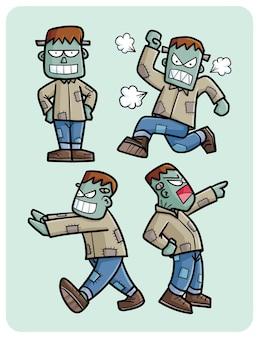 만화 스타일의 재미있는 프랑켄슈타인 전신 포즈 컬렉션