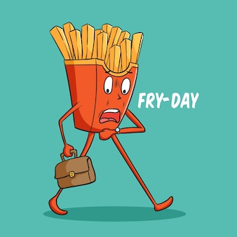Funny french fries cartoon character late for work with doodle style