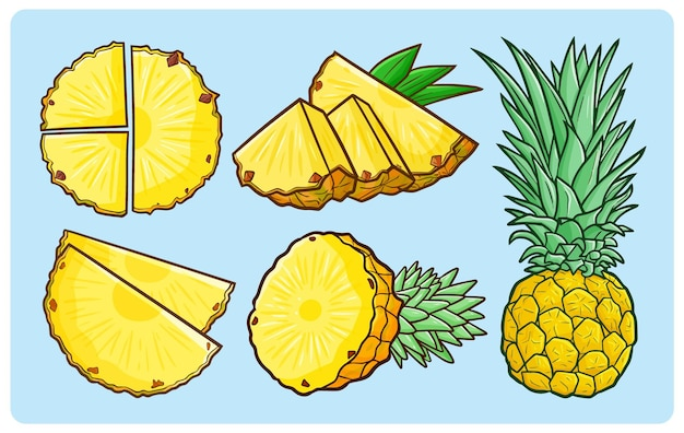 Funny and fresh pineapple set for summer time in doodle style