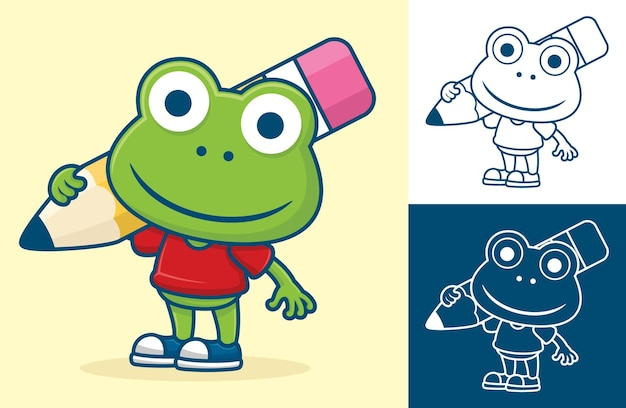 Funny frog carrying big pencil on its shoulder.   cartoon illustration in flat icon style