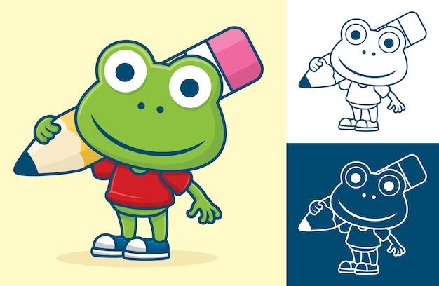 その肩に大きな鉛筆を運ぶ面白いカエル。フラットアイコンスタイルの漫画イラスト