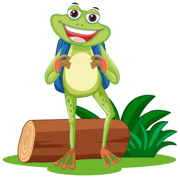 Funny frog cartoon character with nature element on white background