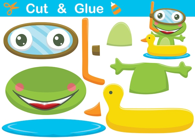 Funny frog cartoon wearing diving glass on duck inflatable ring. cutout and gluing