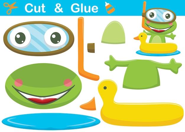 오리 풍선 링에 다이빙 유리를 입고 재미있는 개구리 만화. 컷아웃 및 접착