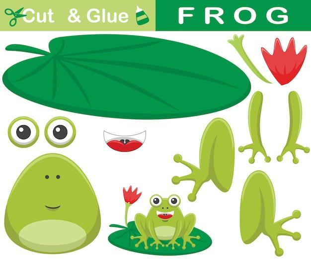 Смешная лягушка, сидящая на листе лотоса. развивающая бумажная игра для детей. вырезка и склейка. иллюстрации шаржа