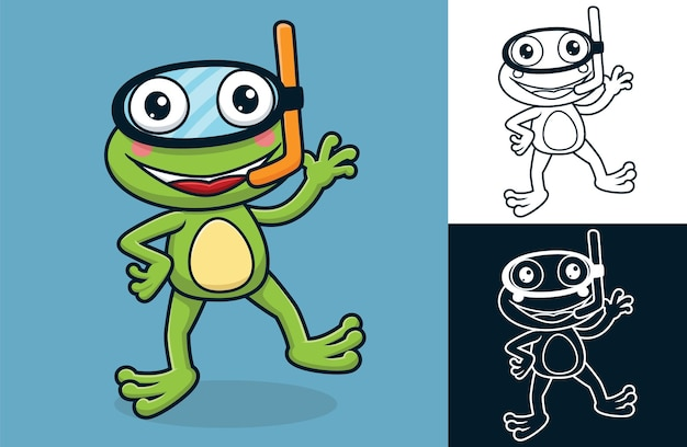 Funny frog wearing diving mask. vector cartoon illustration in flat icon style