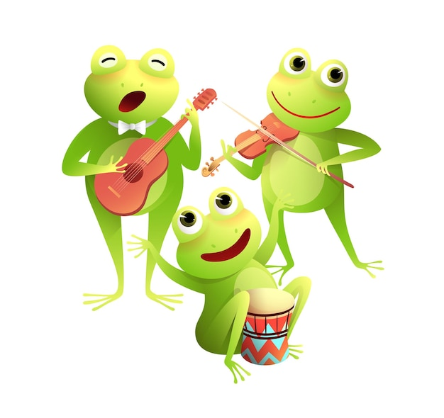 Funny frogs concert singing and playing musical instruments happy toads party on water lily leaf