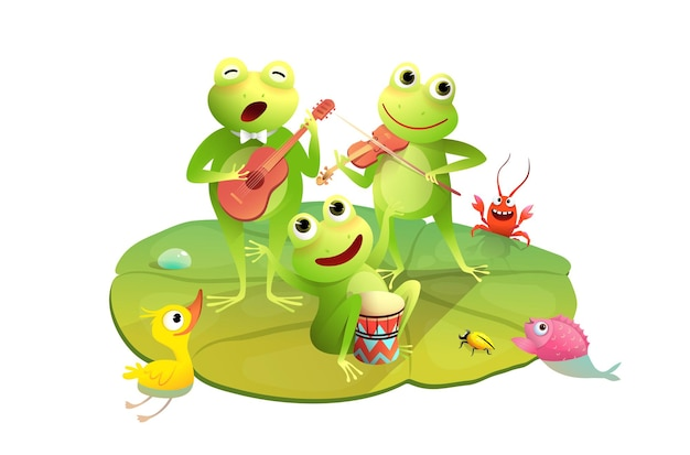 Funny frogs concert on the waterlily happy toads or frogs playing drums violin and guitar on pond